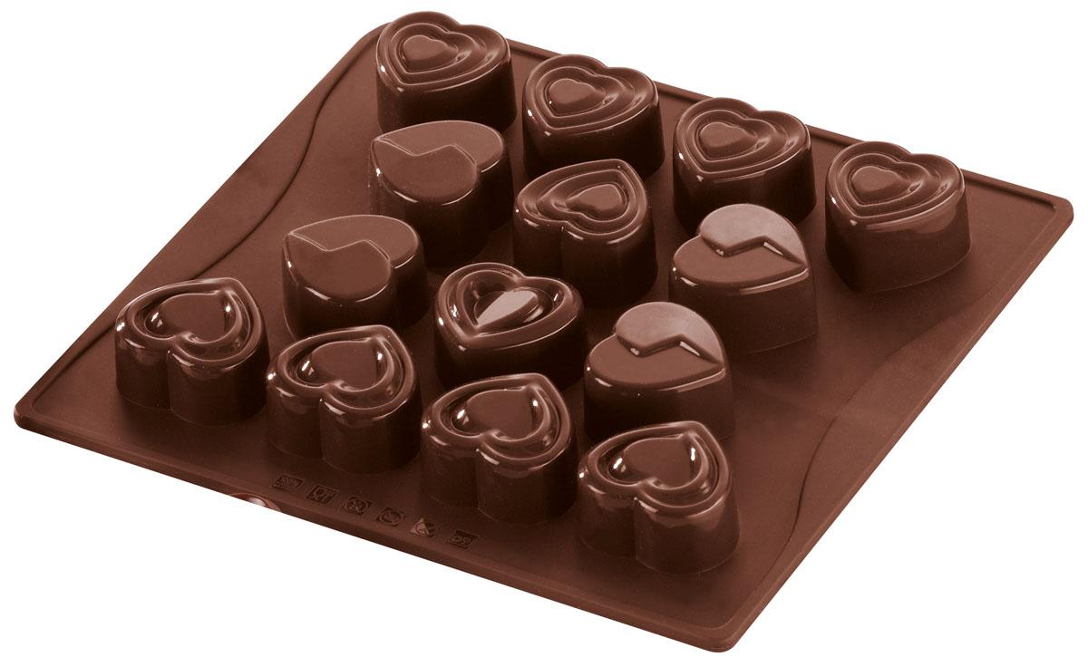 Форма для шоколада и льда Dr.Oetker Confiserie, цвет: коричневый, 14 ячеек. 24982498Форма Dr.Oetker Confiserie выполнена из высококачественного пищевого силикона и предназначена для изготовления шоколада, конфет, мармелада, желе, льда и выпечки. На одном листе расположено 14 ячеек-сердечек разного дизайна. Благодаря тому, что форма изготовлена из силикона, готовый десерт вынимать легко и просто. Силиконовые формы выдерживают высокие и низкие температуры (от -40°С до + 230°С). Они эластичны, износостойки, легко моются, не горят и не тлеют, не впитывают запахи, не оставляют пятен. Силикон абсолютно безвреден для здоровья. Чтобы достать льдинки, эту форму не нужно держать под теплой водой или использовать нож. Можно мыть в посудомоечной машине.