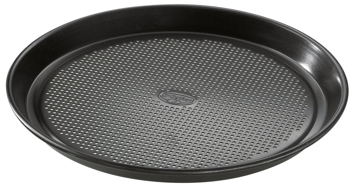 Форма для пиццы Dr.Oetker Kreativ, круглая, с антипригарным покрытием, цвет: черный, диаметр 30 см1235Круглая форма для выпечки Dr.Oetker Kreativ выполнена из высококачественной углеродистой стали и снабжена антипригарным покрытием, что обеспечивает форме прочность и долговечность. Форма с перфорированным дном идеально подойдет для приготовления пиццы. Равномерное распределение тепла способствует образованию корочки на выпекаемых изделиях. Данную форму легко чистить. Готовая выпечка без труда извлекается из нее. Изделие устойчиво к воздействию фруктовых кислот. Форма подходит для использования в духовке с максимальной температурой 250°С. Перед каждым использованием форму необходимо смазать небольшим количеством масла. Чтобы избежать повреждений антипригарного покрытия, не используйте металлические или острые кухонные принадлежности. Можно мыть в посудомоечной машине.