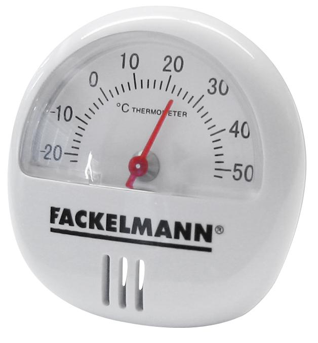 Термометр на магните Fackelmann16375Термометр на магните Fackelmann предназначен для измерения температуры. Корпус выполнен из прочного пластика белого цвета. С задней стороны имеется магнит, который позволяет прикрепить прибор к любой магнитной поверхности, например, к холодильнику. Термометр имеет шкалу от -20°С до +50°С. Материал: пластик. Диаметр термометра: 5,5 см.