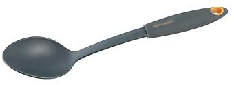 Ложка сервировочная Fackelmann Soft, длина 30 см25209Сервировочная ложка Fackelmann Soft изготовлена из нейлона, благодаря чему продукты не прилипают к изделию. Удобная ручка с прорезиненной поверхностью не позволит выскользнуть ложке из вашей руки, сделает приятным процесс приготовления любого блюда. Такой ложкой удобно перемешивать, а также раскладывать блюда на тарелки. На ручке имеется небольшое отверстие, за которое изделие можно подвесить в любом удобном для вас месте. Практичная и удобная ложка Fackelmann Soft займет достойное место среди аксессуаров на вашей кухне.