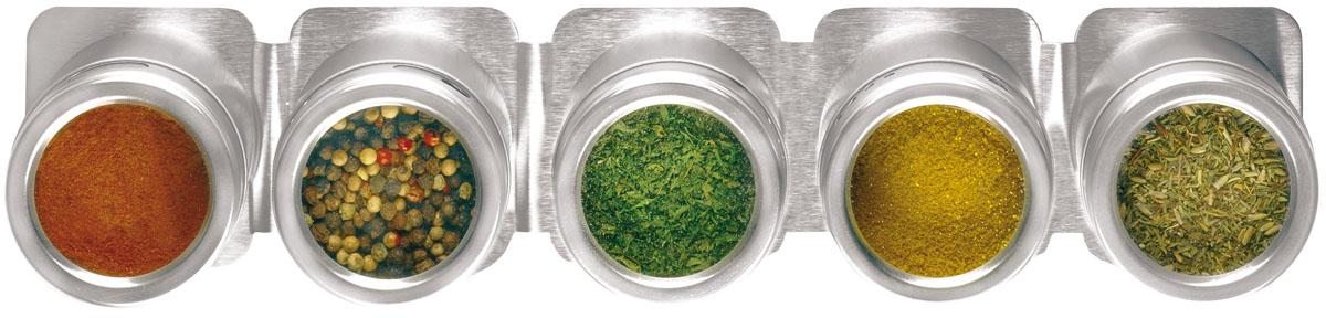 Набор для специй Fackelmann, 6 предметов42972Набор Fackelmann состоит из 5 емкостей, предназначенных для хранения наиболее часто используемых специй и приправ. Изделия выполнены из нержавеющей стали. Крышки оснащены прозрачными пластиковыми окошками, благодаря которым видно, что внутри. Каждая баночка имеет маленькие отверстия, чтобы немного приправить блюдо. Для набора предусмотрена магнитная подставка, которая устанавливается на металлическую поверхность или стену. Такой набор стильно дополнит интерьер кухни и станет незаменимым помощником в приготовлении ваших любимых блюд.
