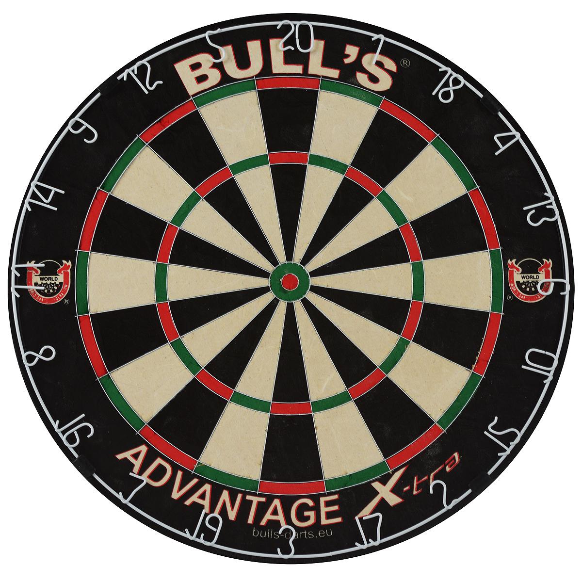 Мишень Bulls Advantage Xtra Bristle Board68002Мишень Bulls Advantage Xtra Bristle Board - официальная мишень Всемирной Федерации Дартс (WDF), мишень Кубка Мира по дартс 1999-2011. Имеет классическую турнирную форму и размеры. Изготовлена из силумина, сизаля, пластика и МДФ. Ультратонкие стальные разделительные пластины врезаны в поверхность мишени. Мишень оснащена металлическим кольцом, покрытым белой краской. Увеличенное секторное поле, особенно в зонах удвоения очков. Мишень не имеет крепежных скобок. В комплекте - специальные крепежные элементы для подвешивания к стене. Возврат товара возможен только при наличии заключения сервисного центра. Время работы сервисного центра: Пн-чт: 10.00-18.00 Пт: 10.00- 17.00 Сб, Вс: выходные дни Адрес: ООО ГАТО, 121471, г.Москва, ул. Петра Алексеева, д 12., тел. (495)232-4670, gato@gato.ru