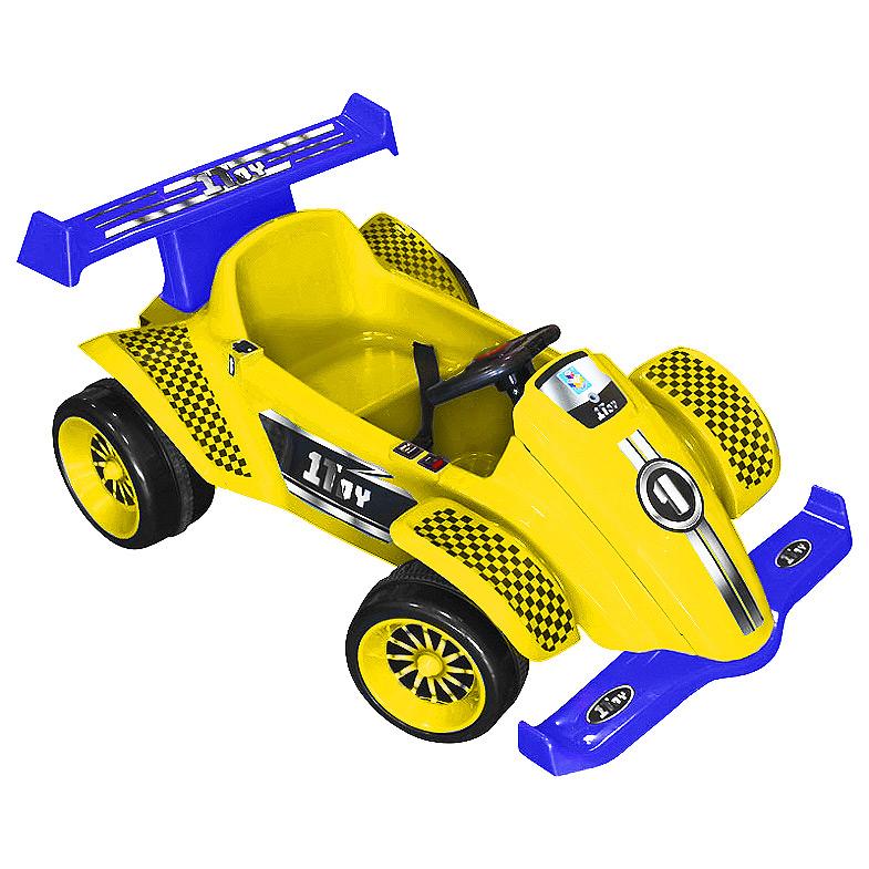 Детский электромобиль 1toy Гонка, цвет: желтый, синий