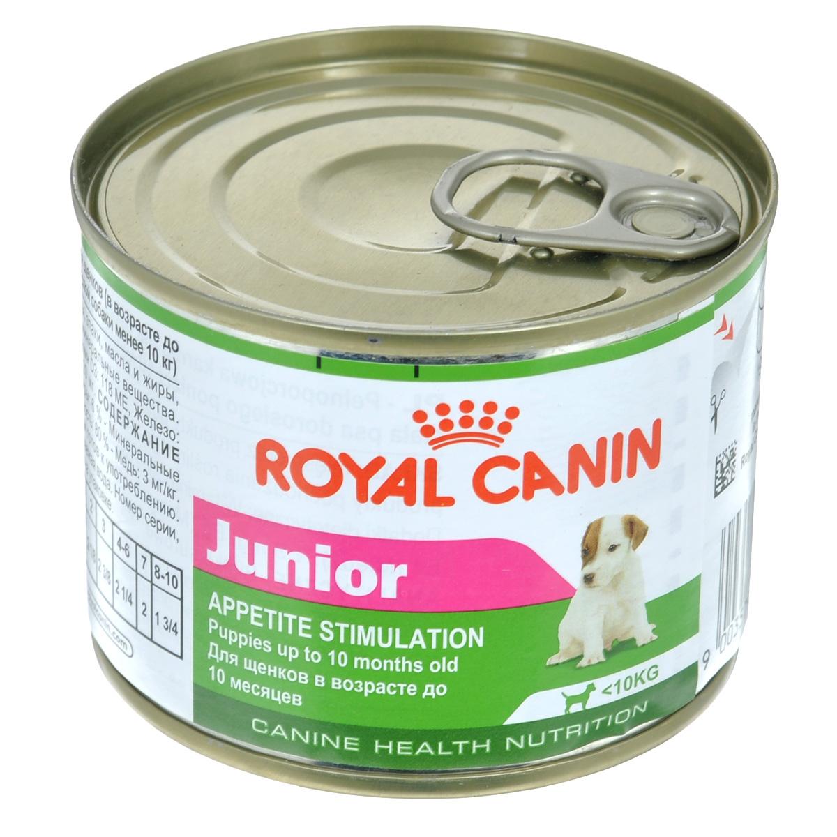 Консервы Royal Canin Junior, для щенков мелких пород, 195 г777002Консервы Royal Canin Junior - полнорационный корм для щенков в возрасте до 10 месяцев, который обладает высокой вкусовой привлекательностью и способен удовлетворить потребности щенка в питании в период роста. Состав: мясо и мясные субпродукты, злаки, масла и жиры, субпродукты растительного происхождения, минеральные вещества. Добавки (в 1 кг): питательные добавки: Витамин D3: 118 ME, Железо: 6,5 мг, Йод: 0,2 мг, Марганец: 2 мг, Цинк: 20 мг. Товар сертифицирован.