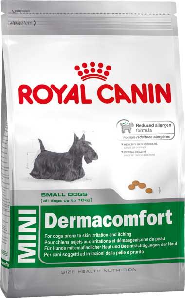 Корм сухой Royal Canin Mini Dermacomfort, для собак мелких пород, при раздражениях и зуде, 800 г310008Сухой корм Royal Canin Mini Dermacomfort - полнорационный сухой корм для собак мелких размеров (вес взрослой собаки до 10 кг) старше 10 месяцев с раздраженной и зудящей кожей. Снижение риска возникновения аллергии. Использование корма Dermacomfort способствует поддержанию здоровья кожи собаки, поскольку в его составе ограничено использование источников белка, которые считаются потенциальными аллергенами у собак. Используемые белки были отобраны по их высокой степени усвояемости. Dermacomfort помогает уменьшить раздражение и зуд кожи. Здоровая шерсть. Питает шерсть благодаря включению в состав корма серосодержащих аминокислот (метионин и цистин), жирных кислот Омега 6 и витамина А. Здоровье зубов. Помогает замедлить образование зубного налета благодаря полифосфату натрия, который связывает кальций, содержащийся в слюне. Состав: рис, пшеничная клейковина, животные жиры, пшеница, кукурузная клейковина, кукуруза, очищенный овес, гидролизат...