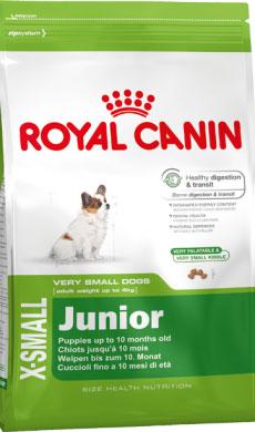 Корм сухой Royal Canin X-Small Junior, для щенков миниатюрных размеров от 2 до 10 месяцев, 1,5 кг314015Сухой корм Royal Canin X-small Junior является полнорационным кормом для щенков очень мелких собак (вес взрослой собаки до 4 кг) в возрасте до 10 месяцев. Период роста у собак миниатюрных размеров краток, но интенсивен, и именно в это время закладывается основа будущего здоровья. Всего за 7-8 недель с момента рождения вес щенка увеличивается в 10 раз! Чтобы обеспечить собаке наилучшее качество жизни, важно с самого начала использовать сбалансированный рацион питания, учитывающий особые потребности щенка. Максимальная защита пищеварительной системы main_benefit-300.pngЭксклюзивная комбинация питательных веществ для оптимальной безопасности пищеварительной системы(белки L.I.P.) и баланса кишечной флоры, а также для поддержания оптимальной консистенции стула у щенков. Высокое содержание энергии. Удовлетворяет энергетические потребности щенков собак миниатюрных размеров в период роста. Обладает высокой вкусовой привлекательностью. Здоровье зубов. ...