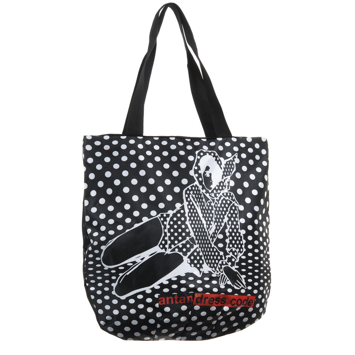 Сумка женская Antan Черно-белое, цвет: черный, белый. 1-1131-113Вместительная женская сумка Antan Черно-белое выполнена из капровинила и оформлена принтом в горох, а также изображением сидящей девушки и надписью. Сумка имеет одно основное отделение, которое закрывается на застежку-молнию. Внутри - вшитый карман на застежке-молнии. Широкие ручки-лямки позволят носить изделие на плече. Такая сумка не только эффектно дополнит образ, но и позволит вам оптимально распределить все необходимые вещи. С ней вы спокойно можете отправляться как на прогулку, так и в дальнюю поездку.