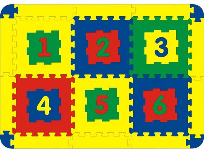 Коврик-пазл Цифры, 6 элементов45422Мягкий коврик-пазл Цифры надолго займет внимание вашего малыша. Пазл состоит из 6 разноцветных плиток с изображением цифр от 1 до 6. Игры с ковриком-пазлом Цифры способствуют развитию у малышей мелкой моторики рук, тактильных ощущений, фантазии, способности анализировать и сопоставлять детали, знакомят их с цифрами и понятиями формы, размера и цвета предмета. Коврик-пазл выполнен из экологически безопасного полимерного материала, обладающего большой плотностью, высоким сопротивлением нагрузкам на разрыв и сгиб, теплоизоляционными качествами и способностью сохранять форму и гибкость при охлаждении. Это обеспечивает комфорт и удобство в использовании в виде напольного покрытия в детской и ванной комнате, в спортивном зале.