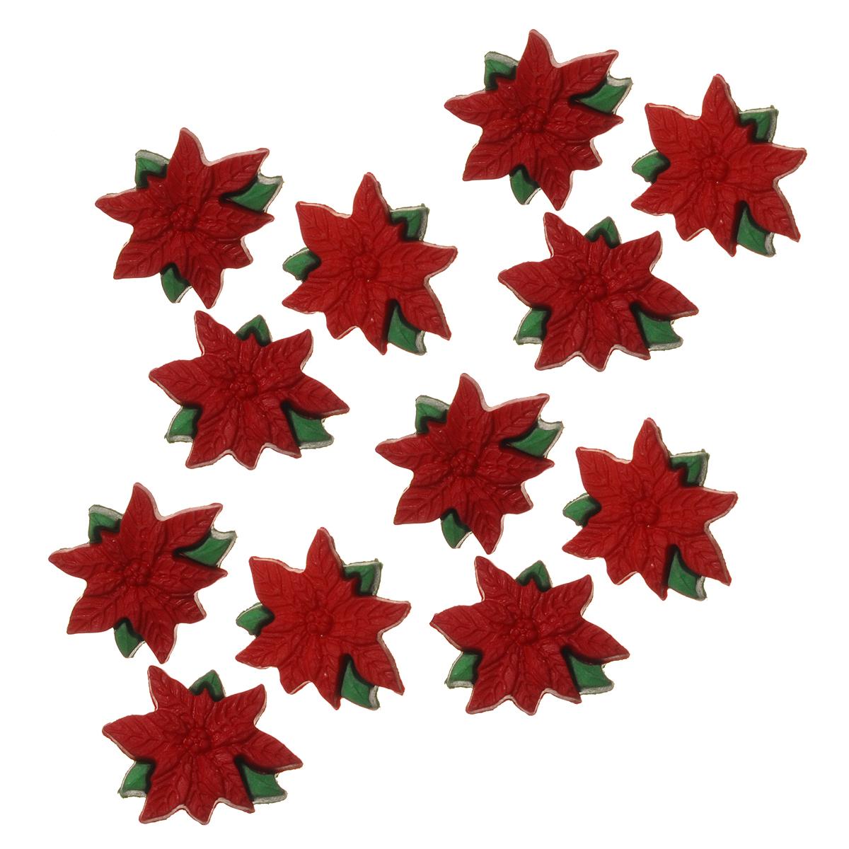 Фигурки декоративные Dress It Up Красная пуансеттия, 12 шт. 77024467702446Набор Dress It Up Красная пуансеттия состоит из 12 декоративных фигурок, выполненных из пластика в форме цветков. Такие фигурки подходят для любых видов творчества: скрапбукинга, декорирования, шитья, изготовления кукол, а также для оформления одежды. С их помощью вы сможете украсить открытку, фотографию, альбом, подарок и другие предметы ручной работы. Фигурки разных цветов имеют оригинальный и яркий дизайн.