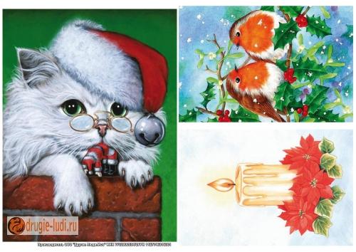 Рисовая бумага для декупажа Рождественские открытки, 29 х 21 смna1070Рисовая бумага для декупажа Рождественские открытки - мягкая бумага с выраженной волокнистой структурой легко повторяет форму любых предметов. При работе с этой бумагой вам не потребуется никакой дополнительной подготовки перед началом работы. Вы просто вырезаете или вырываете нужный фрагмент, и хорошо проклеиваете бумагу на поверхности изделия. Рисовая бумага для декупажа идеально подходит для стекла. В отличие от салфеток, при наклеивании декупажная бумага практически не рвется и совсем не растягивается. Клеить ее можно как на светлую, так и на темную поверхность. Для новичков в декупаже - это очень удобно и гарантируется хороший результат. Поверхность, на которую будет клеиться декупажная бумага, подготавливают точно так же, как и для наклеивания салфеток, распечаток и т.д. Мотив вырезаем точно по контуру и замачиваем в емкости с водой, обычно не больше чем на одну минуту, чтобы он полностью впитал воду. Вынимаем и промакиваем бумажным или обычным полотенцем с двух сторон....