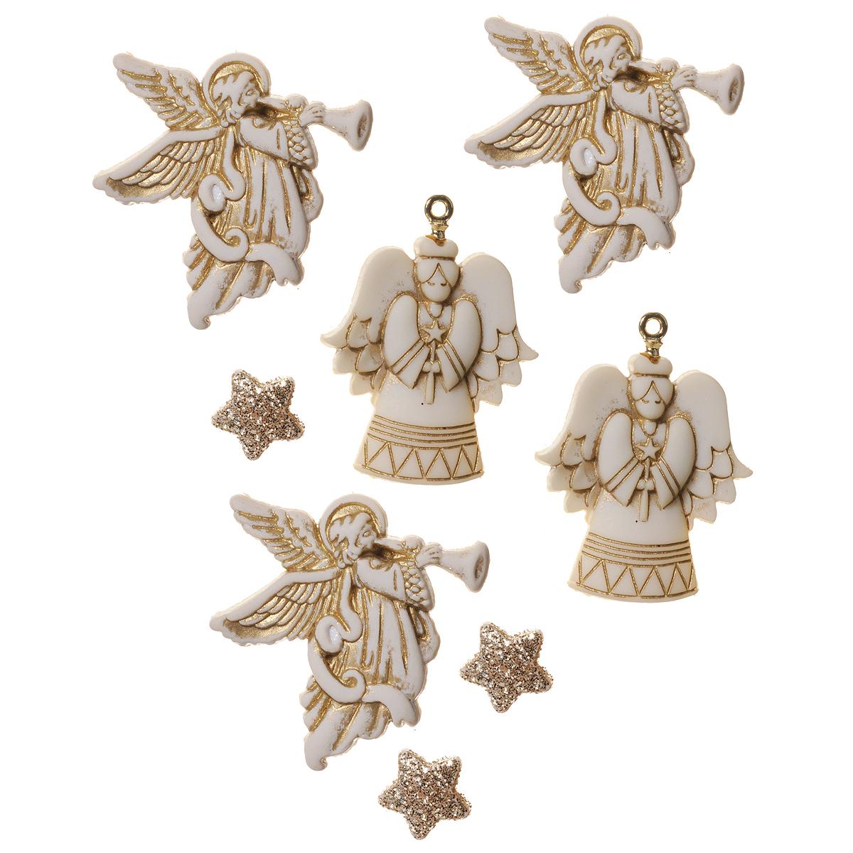 Набор пуговиц и фигурок Dress It Up Ангелы, 8 шт. 77024507702450Набор Dress It Up Ангелы состоит из 8 декоративных пуговиц и фигурок, выполненных из пластика в форме ангелов и звезд. Звезды покрыты блестками. Такие пуговицы и фигурки подходят для любых видов творчества: скрапбукинга, декорирования, шитья, изготовления кукол, а также для оформления одежды. С их помощью вы сможете украсить открытку, фотографию, альбом, подарок и другие предметы ручной работы. Пуговицы и фигурки разных цветов имеют оригинальный и яркий дизайн.