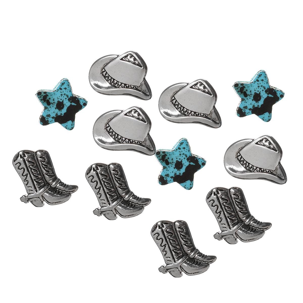 Пуговицы декоративные Dress It Up Шляпы и ботинки, 11 шт. 77020877702087Набор Dress It Up Шляпы и ботинки состоит из 11 декоративных пуговиц, выполненных из пластика в форме ботинок, шляп и звезд. Такие пуговицы подходят для любых видов творчества: скрапбукинга, декорирования, шитья, изготовления кукол, а также для оформления одежды. С их помощью вы сможете украсить открытку, фотографию, альбом, подарок и другие предметы ручной работы. Пуговицы разных цветов имеют оригинальный и яркий дизайн.
