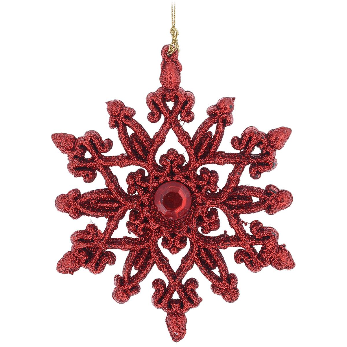 Новогоднее подвесное украшение Снежинка, цвет: красный, 10 см х 11 см34984Оригинальное новогоднее украшение из пластика прекрасно подойдет для праздничного декора дома и новогодней ели. Изделие крепится на елку с помощью металлического зажима.