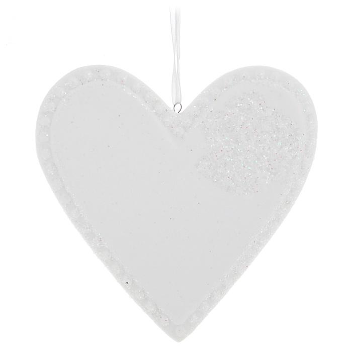 Новогоднее подвесное украшение Сердце, цвет: белый. 3108031080Оригинальное новогоднее украшение из пластика прекрасно подойдет для праздничного декора дома и новогодней ели. Изделие крепится на елку с помощью металлического зажима.