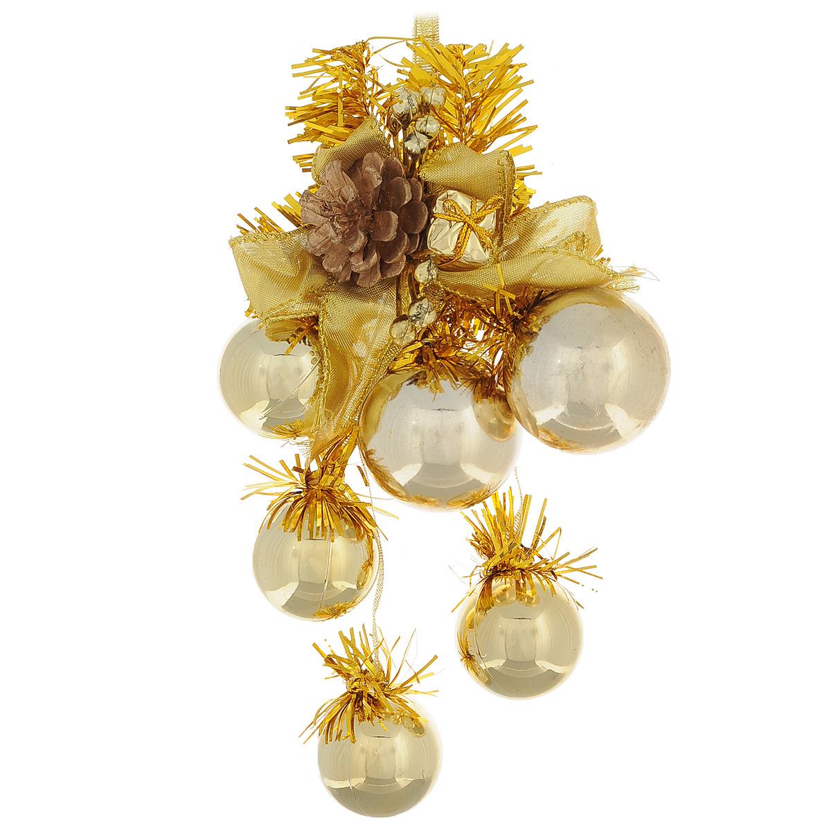 Новогоднее подвесное украшение Шарики, цвет: золотистый. 3072930729Оригинальное новогоднее украшение из пластика прекрасно подойдет для праздничного декора дома и новогодней ели. Изделие крепится на елку с помощью металлического зажима.