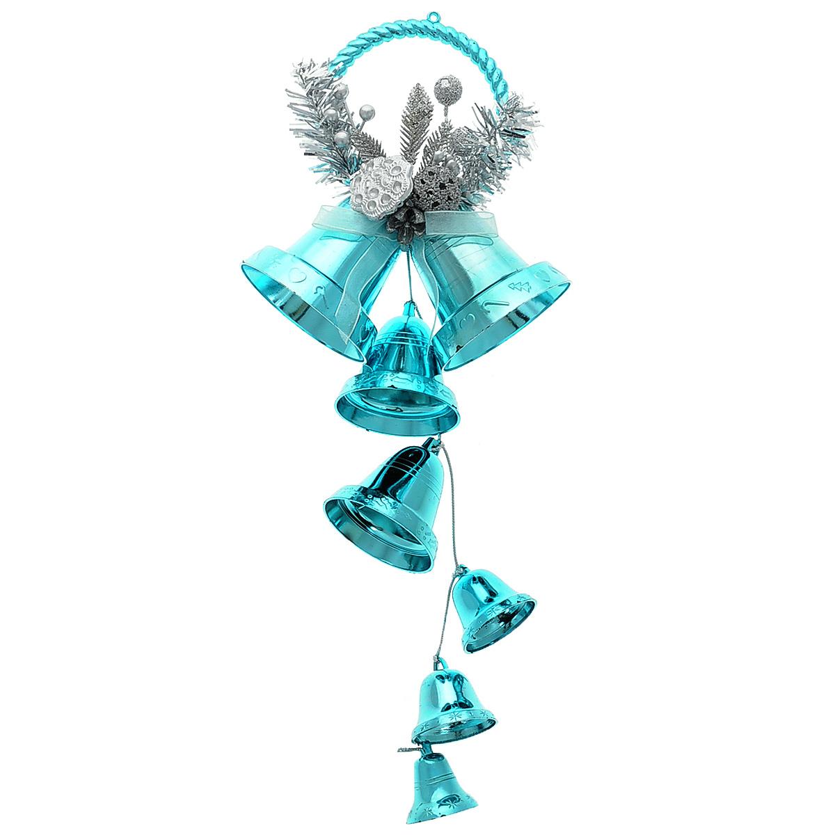 Новогоднее подвесное украшение Колокольчики, цвет: голубой. 3442934429Новогоднее украшение Колокольчики отлично подойдет для декорации вашего дома и новогодней ели. Игрушка выполнена в виде связки на декоративной ленте из шести пластиковых колокольчиков различных размеров. Связка украшена декоративным элементом в виде цветка с золотистым листком, ветками с ягодами и текстильным бантом с мишурой. Колокольчики украшены мишурой и золотой каймой по краю. Украшение оснащено специальной текстильной петелькой для подвешивания. Елочная игрушка - символ Нового года. Она несет в себе волшебство и красоту праздника. Создайте в своем доме атмосферу веселья и радости, украшая всей семьей новогоднюю елку нарядными игрушками, которые будут из года в год накапливать теплоту воспоминаний.