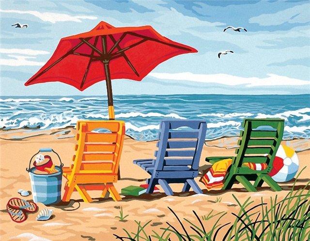 Набор для раскрашивания Paint Works Трио шезлонгов на берегу, 35 х 27 см DMS-91316DMS-91316Набор для раскрашивания Paint Works Трио шезлонгов на берегу поможет вам создать свой личный шедевр - красивую картину, нарисованную акриловыми красками. С таким набором очень легко самостоятельно написать потрясающую картину, даже если вы этого никогда не делали. С помощью инструкции закрашивайте фоновые области по цветовым номерам. Набор для раскрашивания прекрасно подойдет как для школьников, так и для взрослых. В набор входят: - акриловые краски (12 цветов), - фактурный картон с нанесенным контуром рисунка, - кисть, - инструкция на русском языке. Размер готовой картины: 35 см х 27 см.