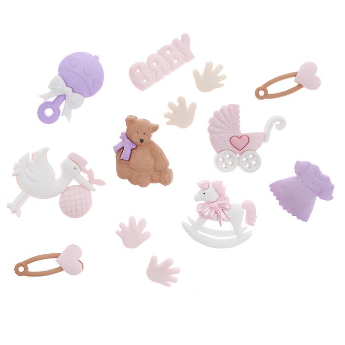 Набор пуговиц и фигурок Dress It Up Для новорожденной девочки, 10 шт. 77020627702062Набор Dress It Up Для новорожденной девочки состоит из 10 декоративных пуговиц и фигурок, выполненных из пластика с изображением вещей, с которыми ассоциируется появление ребенка. Такие пуговицы и фигурки подходят для любых видов творчества: скрапбукинга, декорирования, шитья, изготовления кукол, а также для оформления одежды. С их помощью вы сможете украсить открытку, фотографию, альбом, подарок и другие предметы ручной работы. Пуговицы и фигурки разных цветов имеют оригинальный и яркий дизайн.