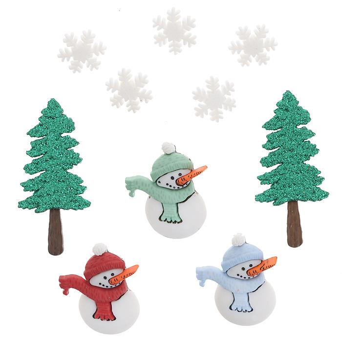 Пуговицы декоративные Dress It Up Хороших святок, 10 шт. 77024737702473Набор Dress It Up Хороших святок состоит из 10 декоративных пуговиц, выполненных из пластика в форме снежинок, снеговиков и елок. Елки декорированы блестками. Такие пуговицы подходят для любых видов творчества: скрапбукинга, декорирования, шитья, изготовления кукол, а также для оформления одежды. С их помощью вы сможете украсить открытку, фотографию, альбом, подарок и другие предметы ручной работы. Пуговицы разных цветов имеют оригинальный и яркий дизайн.