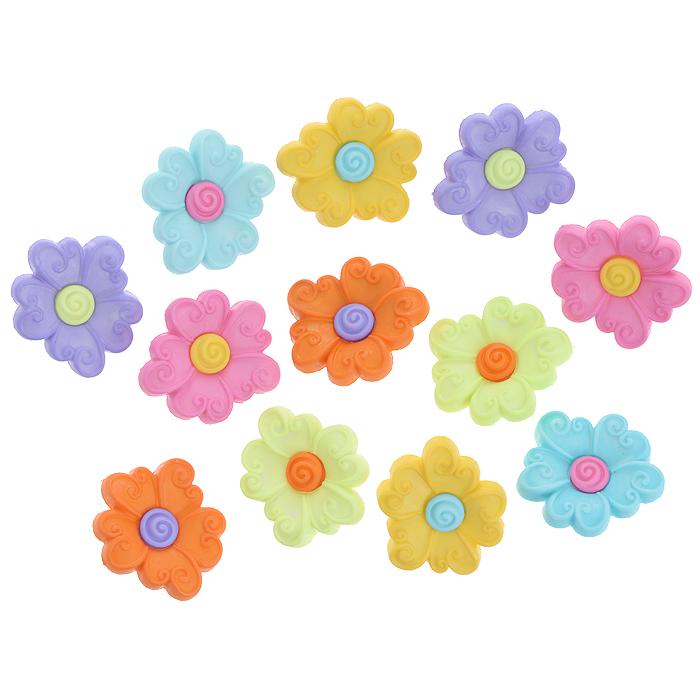 Пуговицы декоративные Dress It Up Цветы, 12 шт. 7702264 - Dress It Up7702264Набор Dress It Up Цветы состоит из 12 декоративных пуговиц, выполненных из пластика в форме цветов. Такие пуговицы подходят для любых видов творчества: скрапбукинга, декорирования, шитья, изготовления кукол, а также для оформления одежды. С их помощью вы сможете украсить открытку, фотографию, альбом, подарок и другие предметы ручной работы. Пуговицы разных цветов имеют оригинальный и яркий дизайн.