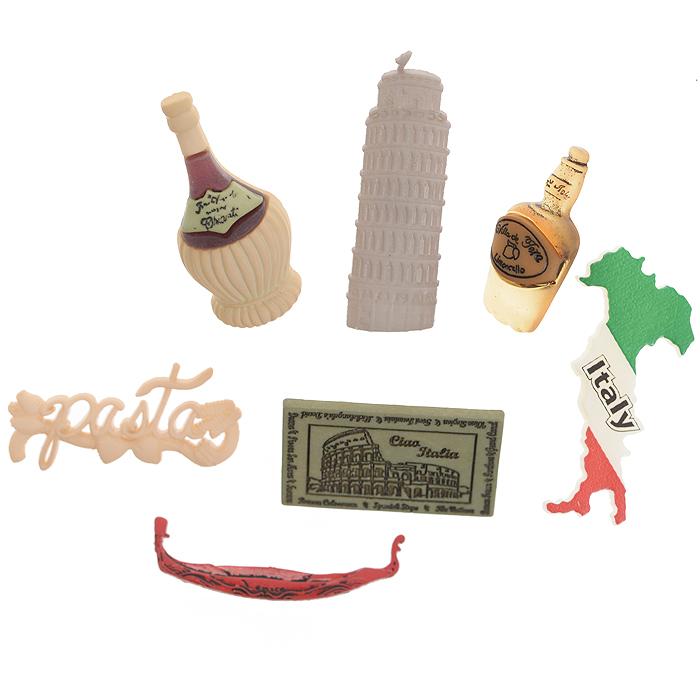 Набор пуговиц и фигурок Dress It Up Италия, 7 шт. 77040757704075Набор Dress It Up Италия состоит из 7 декоративных пуговиц и фигурок, выполненных из пластика с изображением вещей, с которыми ассоциируется Италия. Такие пуговицы и фигурки подходят для любых видов творчества: скрапбукинга, декорирования, шитья, изготовления кукол, а также для оформления одежды. С их помощью вы сможете украсить открытку, фотографию, альбом, подарок и другие предметы ручной работы. Пуговицы и фигурки разных цветов имеют оригинальный и яркий дизайн.