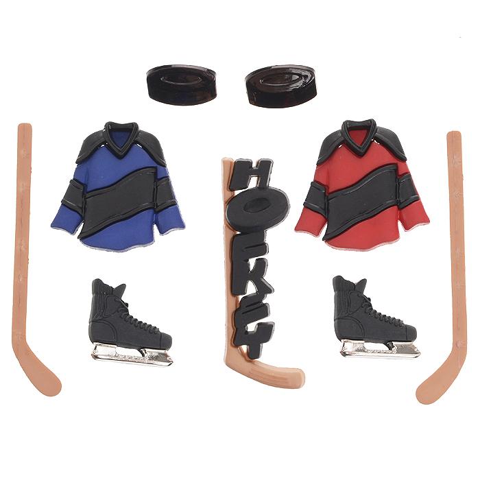 Набор пуговиц и фигурок Dress It Up Хоккей, 9 шт. 77021417702141Набор Dress It Up Хоккей состоит из 9 декоративных пуговиц и фигурок, выполненных из пластика в виде вещей, с которыми ассоциируется хоккей. Такие пуговицы и фигурки подходят для любых видов творчества: скрапбукинга, декорирования, шитья, изготовления кукол, а также для оформления одежды. С их помощью вы сможете украсить открытку, фотографию, альбом, подарок и другие предметы ручной работы. Пуговицы и фигурки разных цветов имеют оригинальный и яркий дизайн.