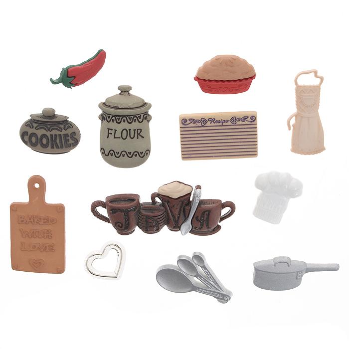 Набор пуговиц и фигурок Dress It Up На кухне, 10 шт. 77023407702340Набор Dress It Up На кухне состоит из 10 декоративных пуговиц и фигурок, выполненных из пластика в виде кухонных принадлежностей. Такие пуговицы и фигурки подходят для любых видов творчества: скрапбукинга, декорирования, шитья, изготовления кукол, а также для оформления одежды. С их помощью вы сможете украсить открытку, фотографию, альбом, подарок и другие предметы ручной работы. Пуговицы и фигурки разных цветов имеют оригинальный и яркий дизайн.