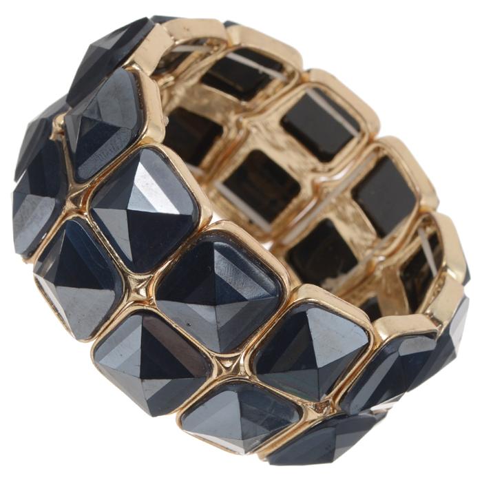 Браслет AtStyle247, цвет: золотистый, черный. T-B-8365-BRAC-GL.BLACKT-B-8365-BRAC-GL.BLACKБраслет AtStyle247 изготовлен из металлического сплава из меди, цинка и железа, с пластиковыми вставками. Изделие выполнено в виде двух рядов ячеек с камнями на резинке. Это украшение позволит вам с легкостью воплотить самую смелую фантазию и создать собственный неповторимый образ. Красивое и необычное украшение блестяще подчеркнет ваш изысканный вкус и поможет внести разнообразие в привычный образ.