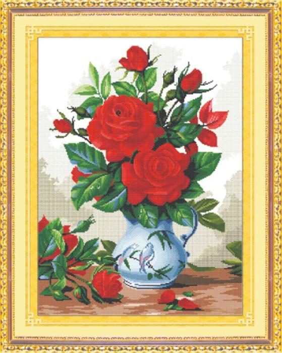 Набор для вышивания крестом Hobby & Pro Красные розы, 37 см х 51 см. S-0227705085
