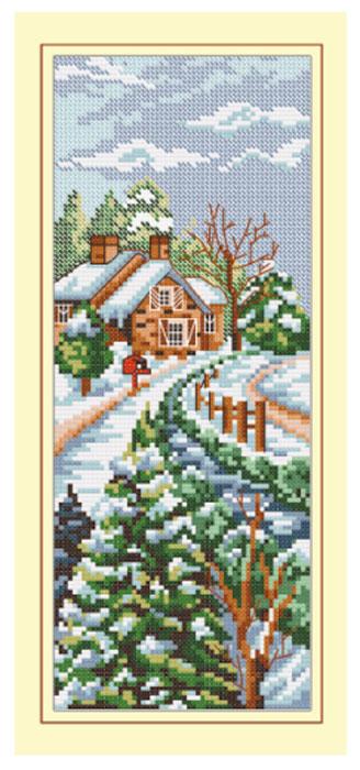 Набор для вышивания крестом Hobby & Pro Зимний домик, 10 х 26 см S-0077705070