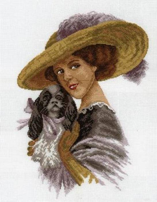 Набор для вышивания крестом Hobby & Pro Дама с собачкой, 37 х 26 см 601680081