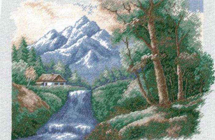 Набор для вышивания крестом Hobby & Pro Водопад, 33 х 23 см 639680627
