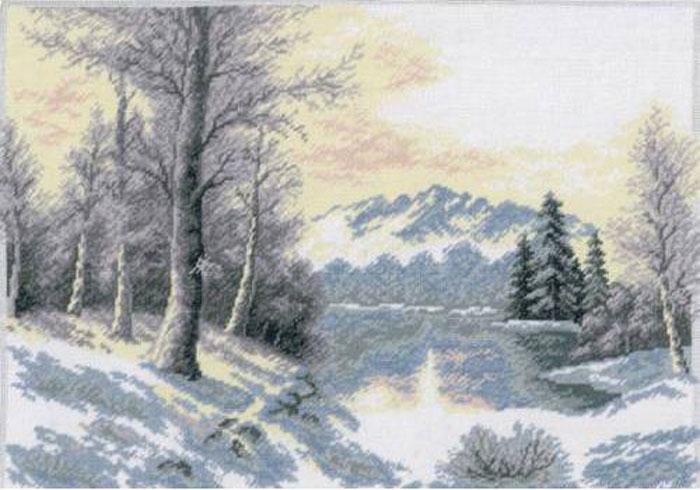 Набор для вышивания крестом Hobby & Pro Зимний пейзаж, 39 х 27 см 644680318