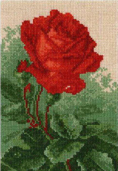 Набор для вышивания крестом Hobby & Pro Алая роза, 21 см х 14,5 см. 604642708