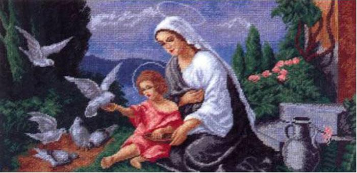 Набор для вышивания крестом Hobby & Pro Мадонна с младенцем, 46 х 23 см 618642713