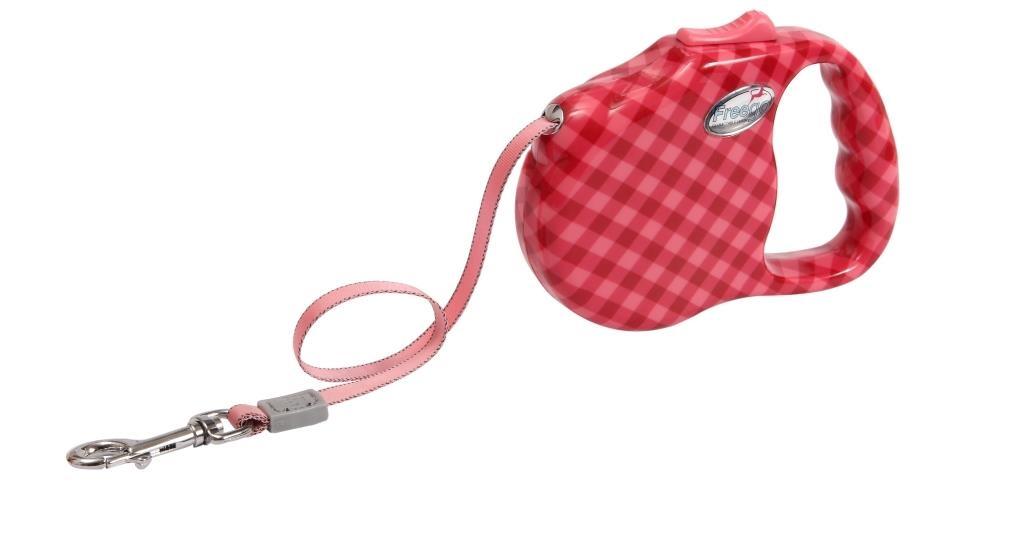 Поводок-рулетка Freego Клетка диагональ для собак до 41 кг, размер L, цвет: красный, розовый, 5 м53497Поводок-рулетка Freego Клетка диагональ изготовлен из пластика и нейлона. Корпус оформлен принтом в красную диагональную клетку. Выдвижная нейлоновая лента-поводок имеет хромированную застежку-карабин, с помощью которой надежно пристегивается к ошейнику. Поводок-рулетка Freego Клетка диагональ - это необходимый, практичный и стильный атрибут для прогулок с вашей собачкой. Его длину можно зафиксировать с помощью специальной кнопки. Длина поводка: 5 м. Максимальная нагрузка: 41 кг.