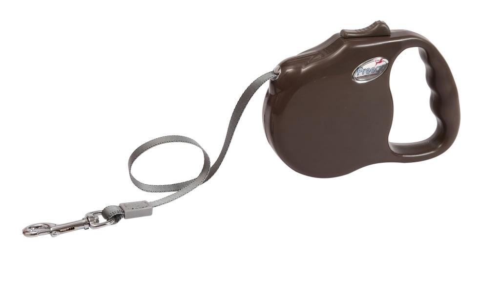 Поводок-рулетка Freego Ракушка для собак до 23 кг, размер М, цвет: коричневый, 3 м53509Поводок-рулетка Freego Ракушка изготовлен из пластика и нейлона. Выдвижная нейлоновая лента-поводок имеет хромированную застежку-карабин, с помощью которой надежно пристегивается к ошейнику. Поводок-рулетка Freego Ракушка - это необходимый, практичный и стильный атрибут для прогулок с вашей собачкой. Его длину можно зафиксировать с помощью специальной кнопки. Длина поводка: 3 м. Максимальная нагрузка: 23 кг.