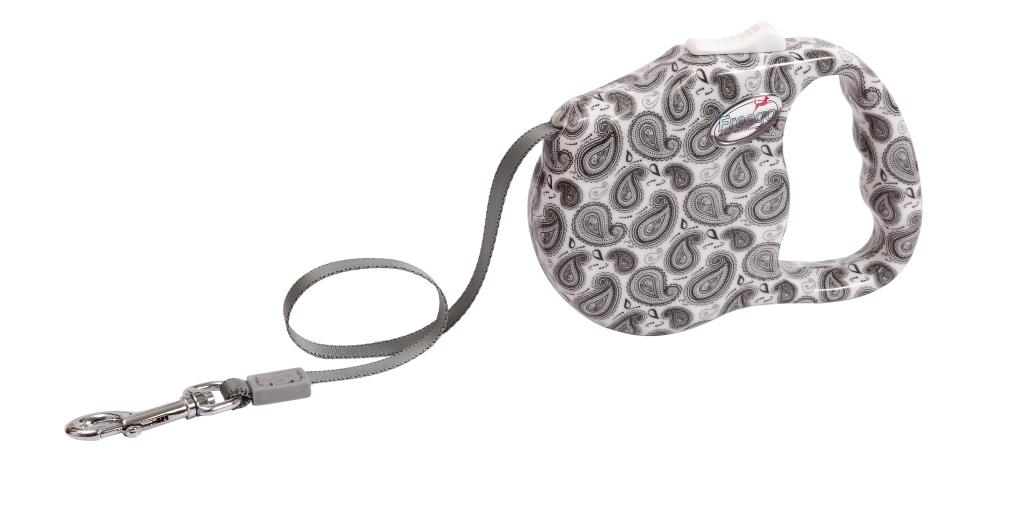 Поводок-рулетка Freego Турецкий огурец для собак до 23 кг, размер М, цвет: белый, серый, 3 м57545Поводок-рулетка Freego Турецкий огурец изготовлен из пластика и нейлона. Корпус оформлен принтом в виде турецких огурцов. Выдвижная нейлоновая лента-поводок имеет хромированную застежку-карабин, с помощью которой надежно пристегивается к ошейнику. Поводок-рулетка Freego Турецкий огурец - это необходимый, практичный и стильный атрибут для прогулок с вашей собачкой. Его длину можно зафиксировать с помощью специальной кнопки. Длина поводка: 3 м. Максимальная нагрузка: 23 кг.