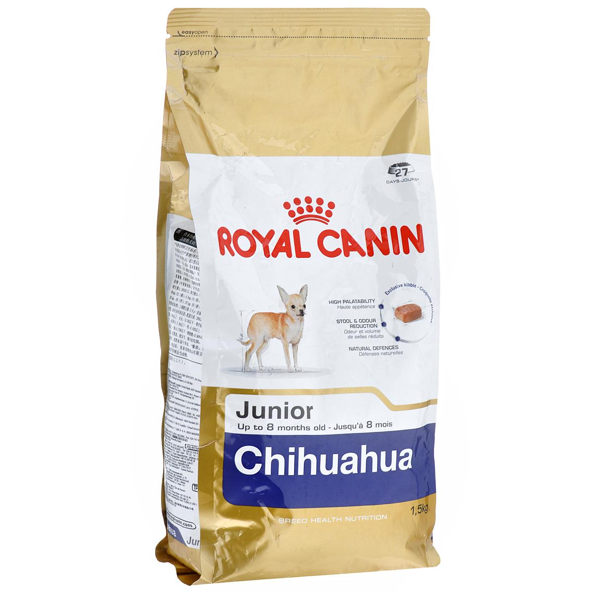 Корм сухой Royal Canin Chihuahua Junior, для щенков породы чихуахуа в возрасте до 8 месяцев, 1,5 кг8102Сухой корм Royal Canin Chihuahua Junior - полнорационное питание для щенков породы чихуахуа в возрасте до 8 месяцев. Щенок чихуахуа нуждается в особенной заботе из-за своих миниатюрных размеров и природной хрупкости. Чихуахуа является самой маленькой породой собак. Они очень предрасположены к образованию зубного камня, таким образом гигиена зубов крайне важна для собак этой породы. Очень важно выбрать корм, крокеты которого имеют соответствующую форму. Chihuahua Junior можно заказать и купить онлайн или в специальных магазинах. Высокая вкусовая привлекательность. Благодаря отборным натуральным ароматам и специально адаптированным крокетам мелкого размера и текстуры, корм обладает максимальной аппетитностью даже для самых маленьких и привередливых щенков чихуахуа. Ослабление запаха стула. Корм для щенков чихуахуа снижает объем и ослабляет неприятный запах экскрементов. Поддержание естественных механизмов защиты. Комплекс антиоксидантов, обладающих...