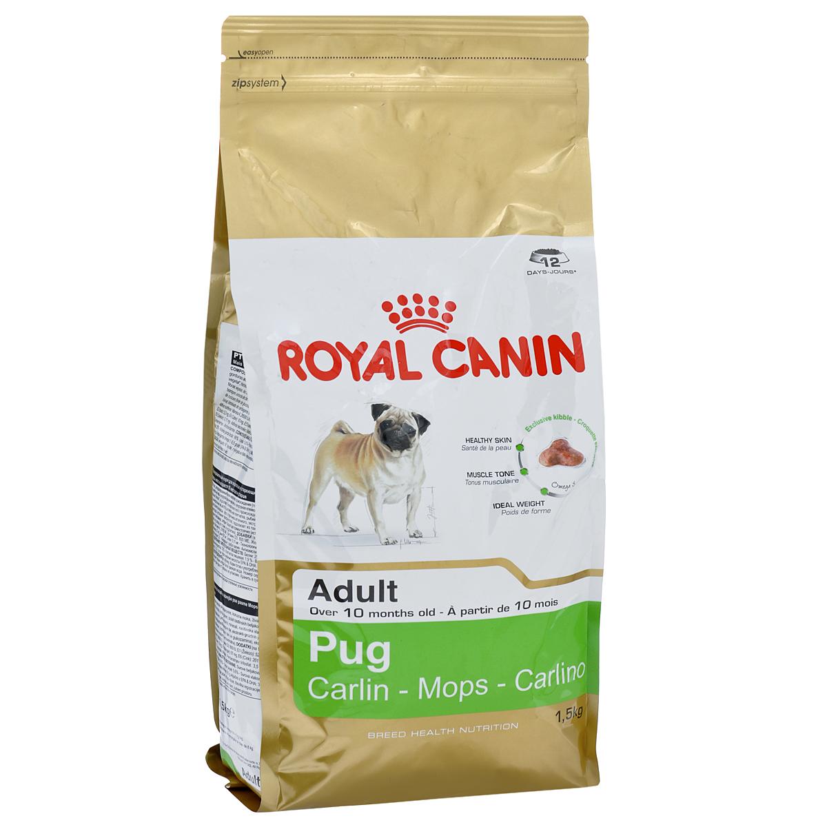 Корм сухой Royal Canin Pug Adult , для собак породы мопс от 10 месяцев, 1,5 кг2404Корм сухой Royal Canin Pug Adult  - полнорационное питание для собак породы мопс от 10 месяцев. Мопс — это истинно аристократическая порода. Очаровательные небольшие собаки издавна были любимцами знати благодаря своему спокойному нраву и сильной привязанности к хозяину. При подборе корма для мопсов важно учесть специфическое строение их челюсти: чаще всего обычные крокеты им очень неудобно захватывать и разгрызать, что приводит к нарушениям пищеварительной системы и мочеиспускательного канала. Здоровая кожа. Новая формула поддерживает кожу собаки в идеальном состоянии. Мышечный тонус. Специализированный корм для мопсов способствует поддержанию мышечного тонуса. Идеальный вес. Продукт способствует гармоничному росту при сохранении идеального веса собаки благодаря снижению уровня жиров. Особая форма крокетов. Крокеты имеют форму трилистника, вследствие чего собаке становится гораздо удобнее их захватывать. Состав: рис,...