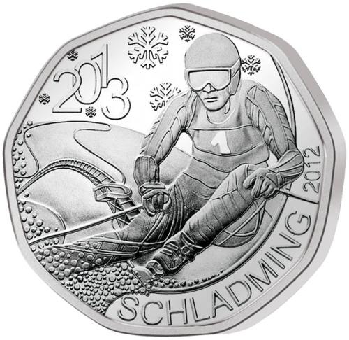 Монета номиналом 5 евро 42-й чемпионат мира по горнолыжному спорту в г. Шладминг в 2013 году, в буклете. Австрия, 2012 год656Монета номиналом 5 евро 42-й чемпионат мира по горнолыжному спорту в г. Шладминг в 2013 году, в буклете. Австрия, 2012 год Номинал: 5 евро Вес: 8 гр. Диаметр: 28.5 мм Тираж: 50000 шт.