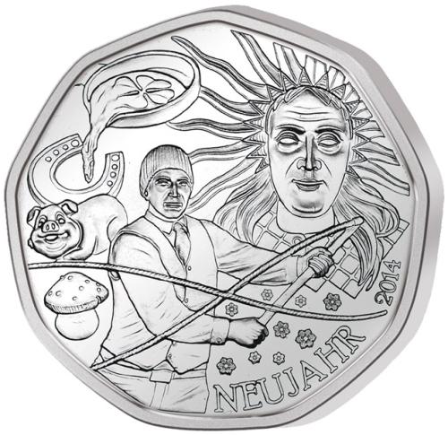 Монета номиналом 5 евро Австрийский фольклор, в буклете. Австрия, 2014 год1806-1808**Монета номиналом 5 евро Австрийский фольклор, в буклете. Австрия, 2014 год Номинал: 5 евро Вес: 8 гр. Диаметр: 28.5 мм Тираж: 50000 шт.