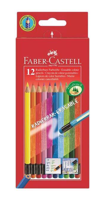 Цветные карандаши COLOUR PENCILS с ластиками,с местом для имени, набор цветов, в картонной коробке, 12 шт.116612Faber Castell 116612 - это цветные карандаши, изготовленные по специальной технологии SV, благодаря которой предотвращается поломка и крошение грифеля внутри корпуса. Faber Castell 116612 выполнены из высококачественной древесины, гарантирующей легкость затачивания при помощи стандартных точилок. Каждый карандаш имеет ластик, соответствующий его цвету и место для написания имени вашего ребенка. Вид карандаша: цветной. Особенности: С ластиком. Материал: дерево.