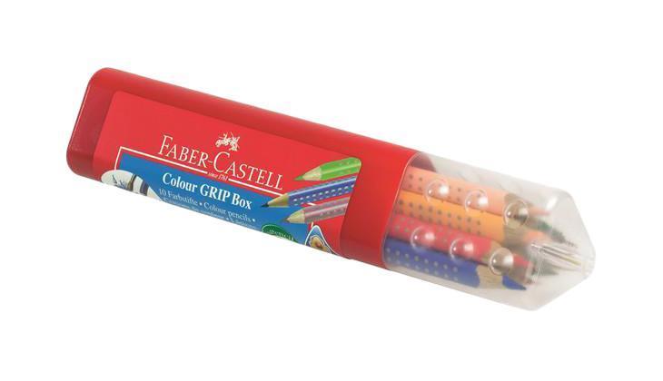 Цветные карандаши GRIP 2001, набор цветов, в пластмассовой тубе, 10 шт.112411Faber Castell GRIP 112411 - это цветные карандаши, изготовленные по специальной технологии SV, благодаря которой предотвращается поломка и крошение грифеля внутри корпуса. Faber Castell GRIP 112411 выполнены из высококачественной древесины, гарантирующей легкость затачивания при помощи стандартных точилок. Карандаши данной модели имеют антискользящую зону захвата с малыми массажными шашечками. Вид карандаша: цветной. Материал: дерево.