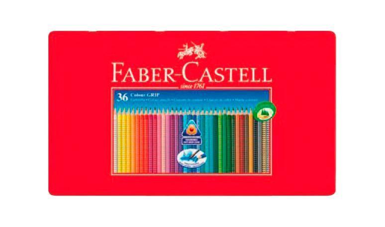 Цветные акварельные карандаши GRIP 2001, набор цветов, в металлической коробке, 36 шт., Faber-Castell