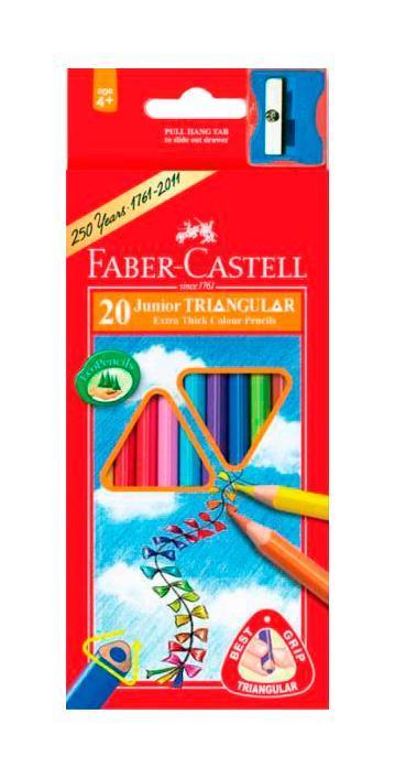Цветные карандаши JUNIOR GRIP с точилкой, набор цветов, в картонной коробке, 20 шт.116520Faber Castell Junior Grip 116520 - цветные карандаши, входят в набор вместе с точилкой. Универсальная эргономичная трехгранная форма, также на каждом карандаше выделено специальное место для имени. Все карандаши имеют яркие и насыщенные цвета. Вид карандаша: цветной. Материал: дерево.