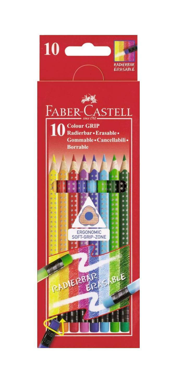 Цветные карандаши GRIP 2001 с ластиками, набор цветов, в картонной коробке, 10 шт.116613Faber Castell GRIP 2001 116613 - цветные карандаши выполнены в эргономичной трехгранной форме, имеют яркие, насыщенные цвета. Важным преимуществом является то, что данные карандаши хорошо отстирываются с большинства тканей. Вид карандаша: цветной. Особенности: С ластиком. Материал: дерево.
