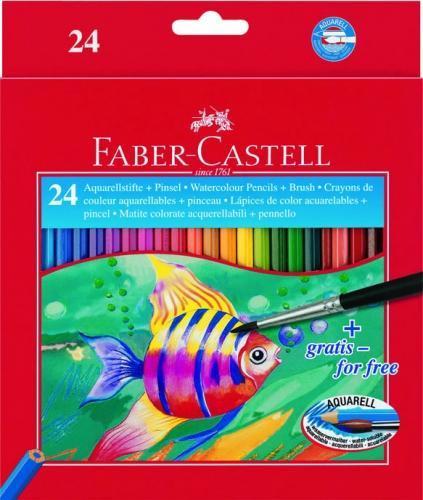 Акварельные карандаши COLOUR PENCILS с кисточкой, набор цветов, в картонной коробке, 24 шт., Faber-Castell