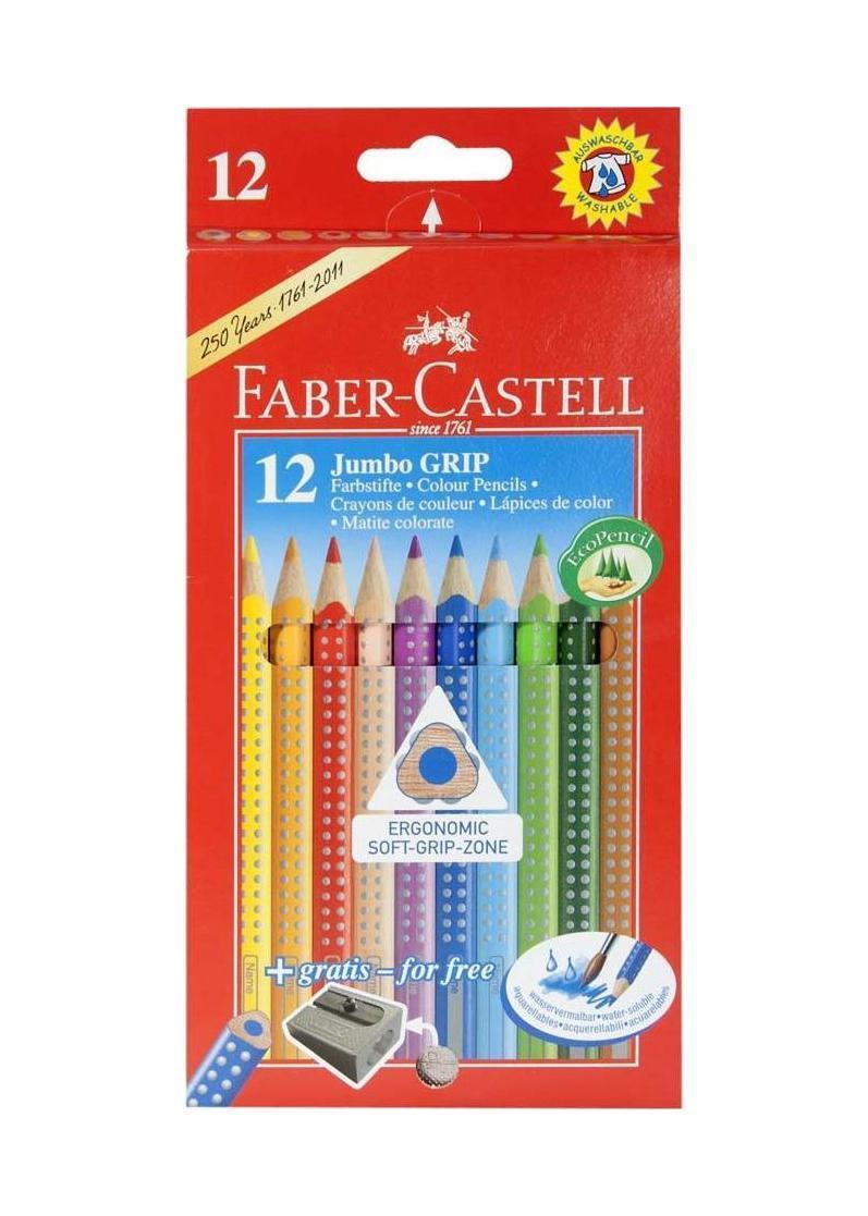 Цветные карандаши JUMBO GRIP с точилкой, набор цветов, в картонной коробке, 12 шт.110912Faber Castell Jumbo Grip 110912 - это качественные карандаши с толщиной грифеля 3.8 миллиметра. Набор станет прекрасным дополнением к набору школьных принадлежностей. Карандаши оставляют на бумаге яркие и насыщенные цвета. Они покрыты лаком на водной основе, что не навредит здоровью детей и окружающей среде. Мягкое дерево очень легко затачивается обычными точилками.