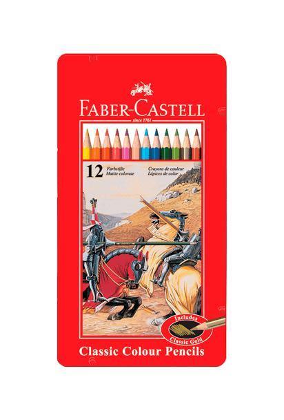 Цветные карандаши РЫЦАРЬ, набор цветов, в металлической коробке, 12 шт.115844Faber Castell Knight 115844 - цветные карандаши со специальной шестигранной формой и яркими, насыщенными цветами. Поломка грифеля предотвращается при помощи технологии вклеивания . Металлическая коробка упакована в специальную пленку, тем самым находясь под защитой от различных повреждений. Вид карандаша: цветной. Материал: дерево.